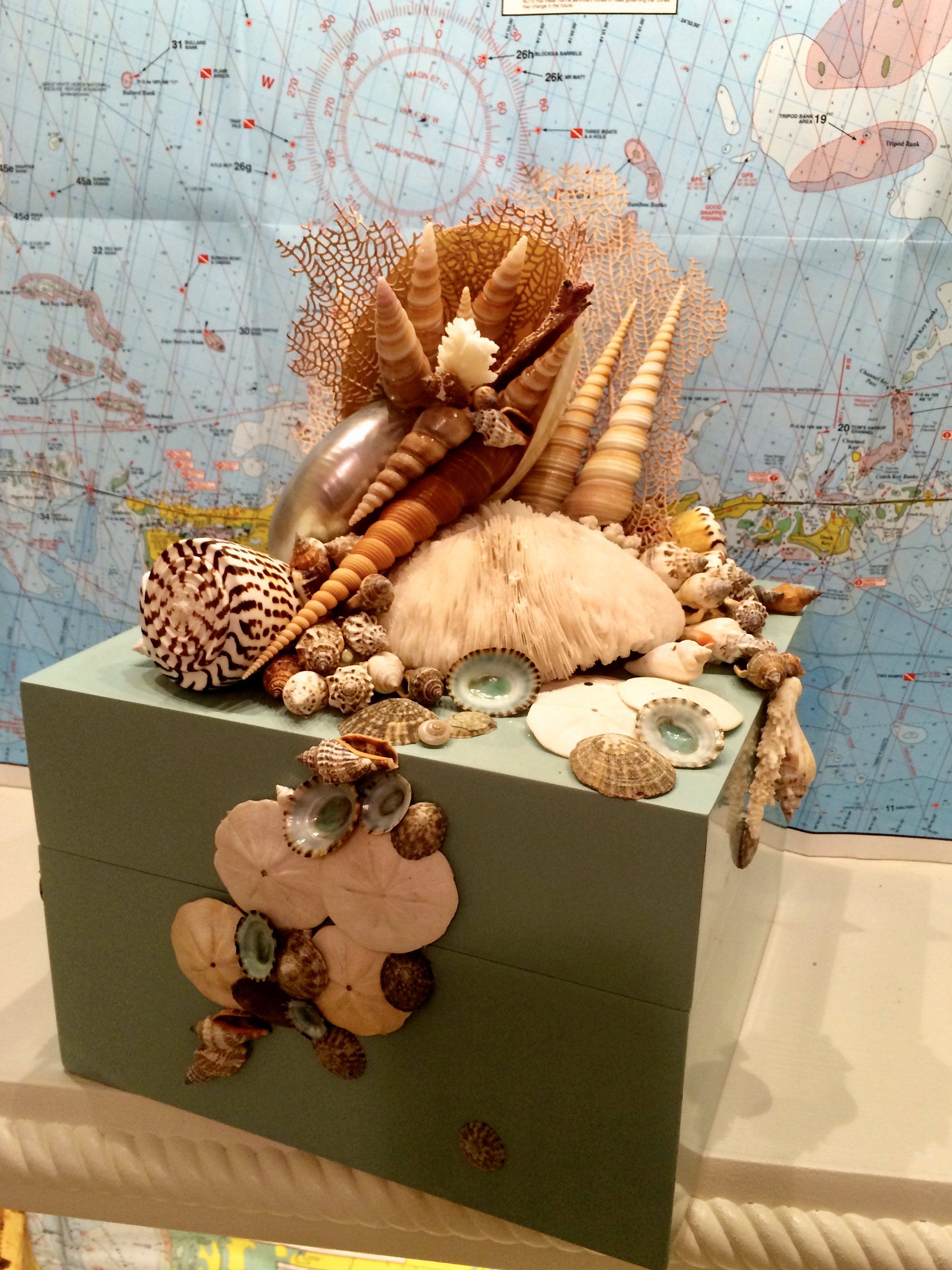 A turquoise box artfully encrusted with sea shells and coral.