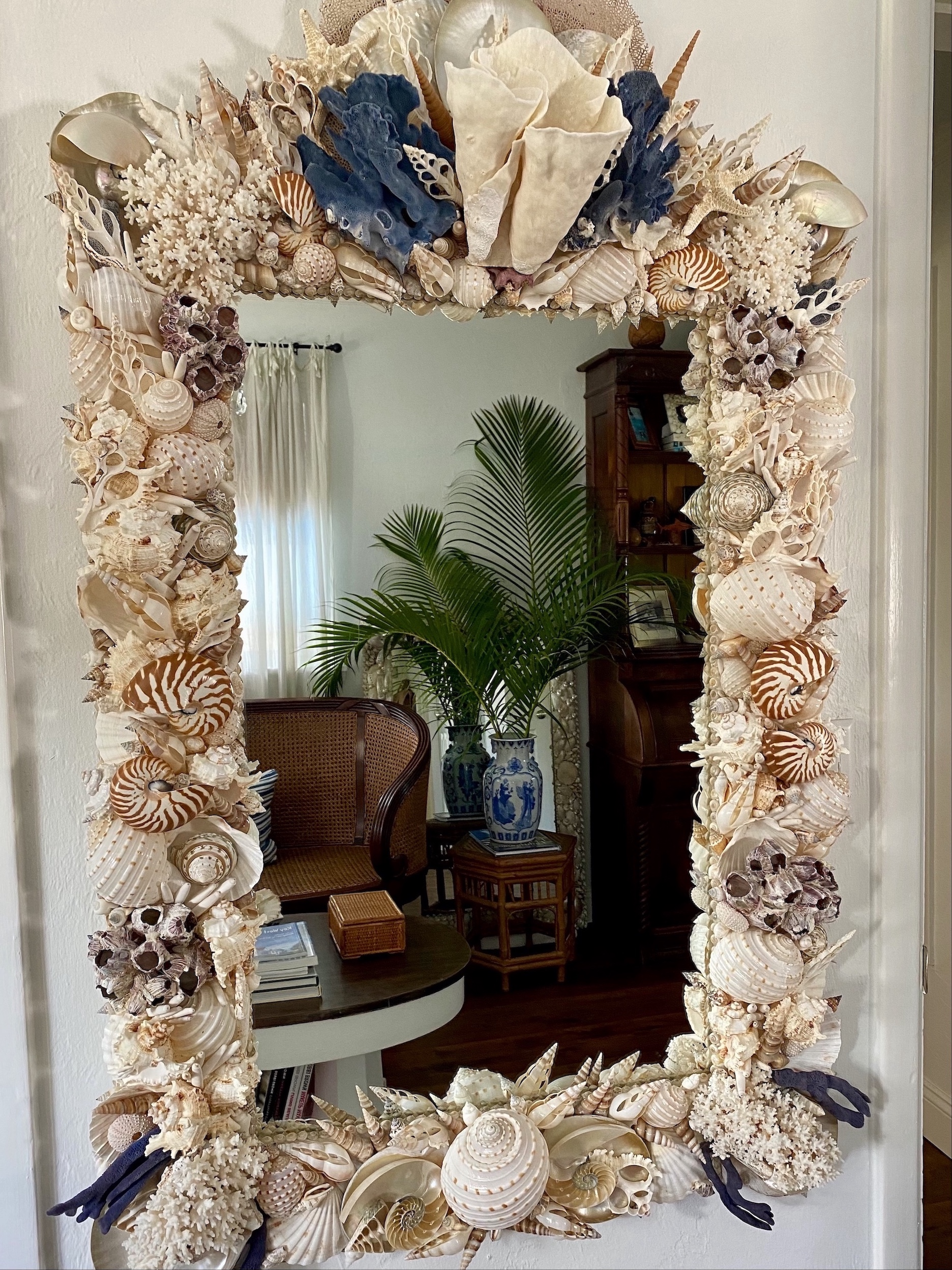 Large mirror made with many, many, many with and tan seashells has blue and white coral crowning the top. the reflection shows dark wood furniture and a palm tree.